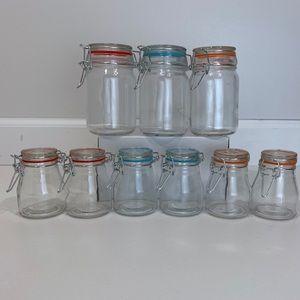 Round Glass Spice Jar Set Clasp Locking Lids 9 pc